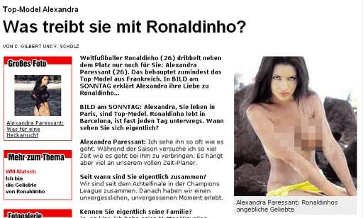德媒体曝光小罗女友裸照世界杯后会公开关系(图)