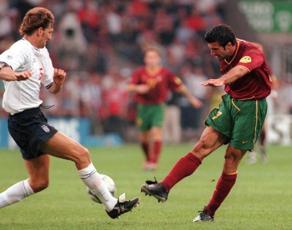 老照片-2000欧洲杯葡萄牙3-2英格兰菲戈经典进球