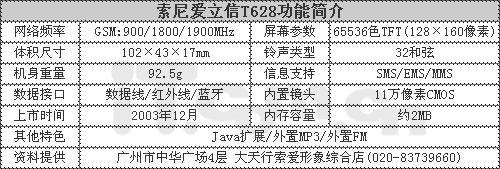 蓝牙风暴索爱经典直板T628仅售1598元