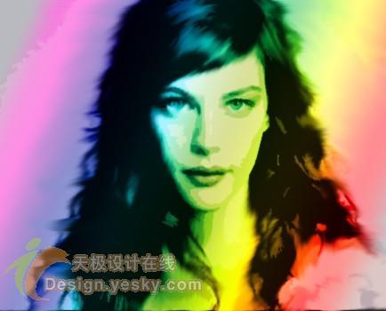 轻松将美女照片处理成彩虹笔刷风格漫画
