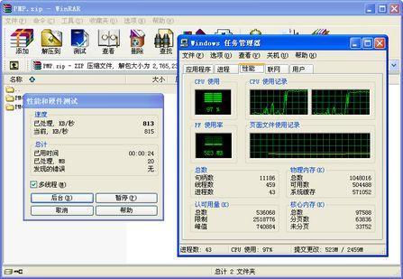 WinRAR测试-性能测试表明双核处理器提升单任务性能