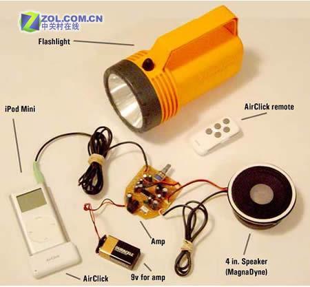 看强人把废弃手电筒打造成iPod扬声器