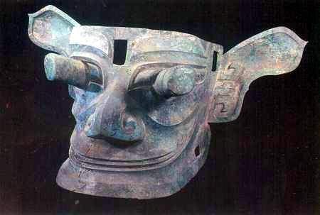三星堆文物展示 青铜纵目面具 图