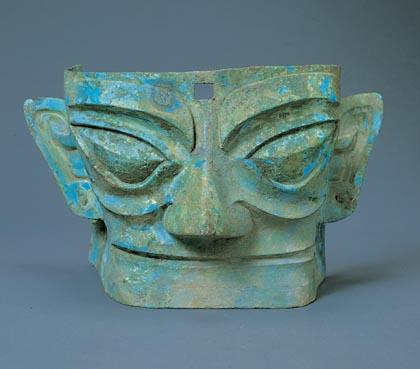 科技时代_三星堆文物展示:铜人面具(图)