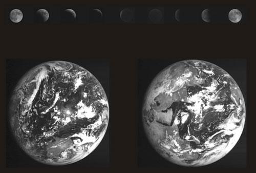 地球和月亮被探测器同时拍摄下来