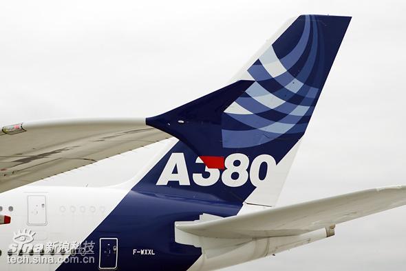 图文:最大客机a380巨大的垂直尾翼