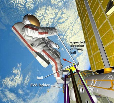 科技时代_俄宇航员单手打太空高尔夫 球将绕地球48圈
