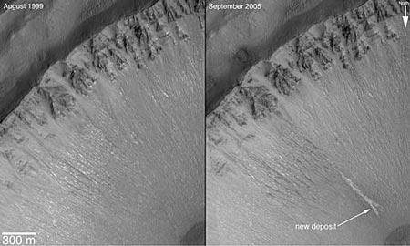 科技时代_研究发现火星上数年前有液态水流动(组图)