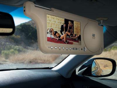 科技时代 新款汽车遮阳板电视 移动的影音中心高清图片
