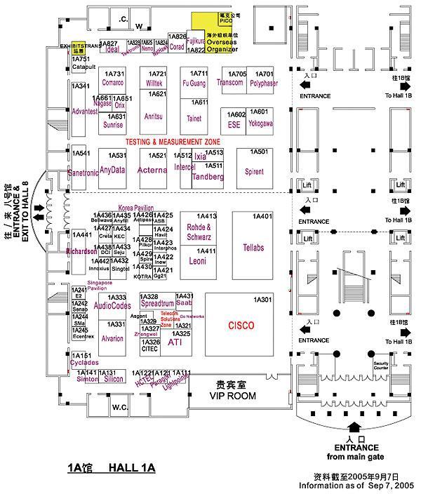 2005年中国国际通信设备技术展览会展位图