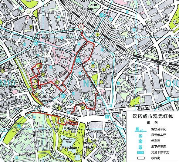 汉诺威市景点线路图