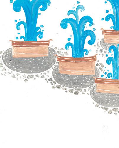 喷泉手绘漫画图