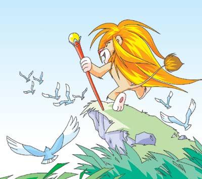 金色的长头发披在肩上,当风儿吹来,头发就像是会流动的波浪.图片