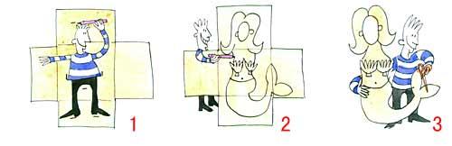 图为:美人鱼制作步骤1,2,3