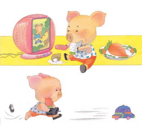 2.猪猪边看电视边吃