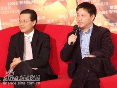 图文:沈南鹏和神秘嘉宾――著名作家余华(右)