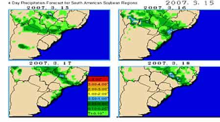 南美大豆产区天气降雨分布图.(来源:经易期货)-豆市缺乏主力资图片