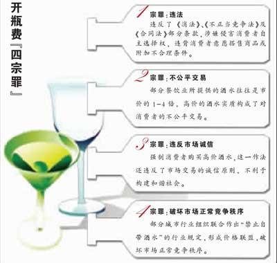 京津沪渝四地消协联合声明开瓶费有四宗罪(图)