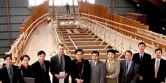 """组图:建造中的""""哥德堡号""""仿古帆船"""