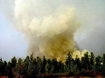 大兴安岭火灾 浓烟笼罩在森林上空