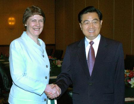 图文:胡锦涛会见新西兰总理克拉克