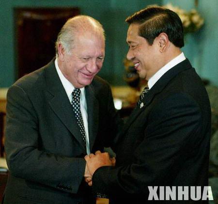 图文:智利总统拉戈斯会见印度尼西亚总统苏西洛