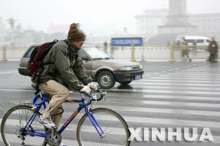 组图:北京迎来今年入冬以来的第一场雪