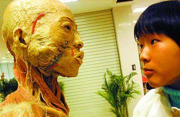 """""""   市民张女士听说人体标本展览后,显得很气愤:""""把人体标本从实验室"""