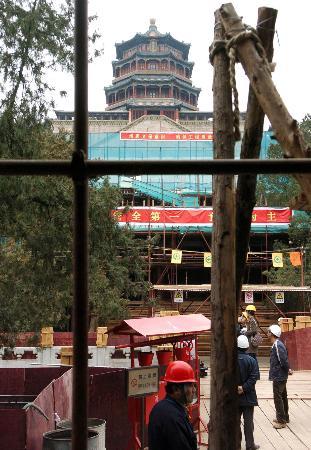 北京颐和园佛香阁进行建国以来最大规模修缮