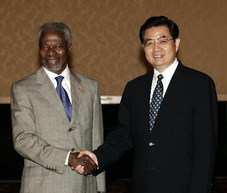 胡锦涛会见安南时表示联合国改革需充分讨论