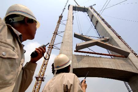 图文:[经济纵横](1)武汉阳逻长江大桥建设进展顺利