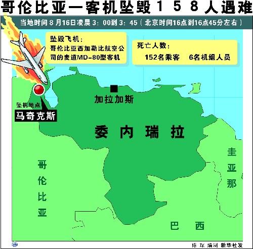 哥伦比亚一客机在委内瑞拉坠毁机上160人遇难(组图)