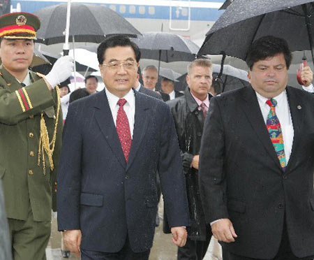 胡锦涛抵达渥太华开始对加拿大进行国事访问