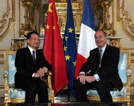 温家宝会见法国总统希拉克(组图)