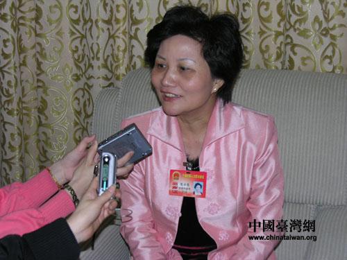 """台湾人大代表陈云英:""""废统""""逆历史潮流而动"""