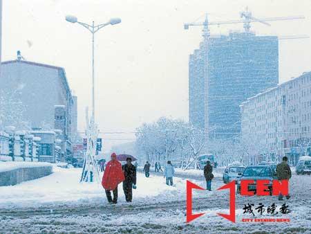 吉林延边降罕见大雪发布雪灾橙色预警(图)
