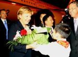 德国总理默克尔乘专机抵达上海