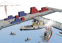 两船进港相撞 液化气泄漏图片