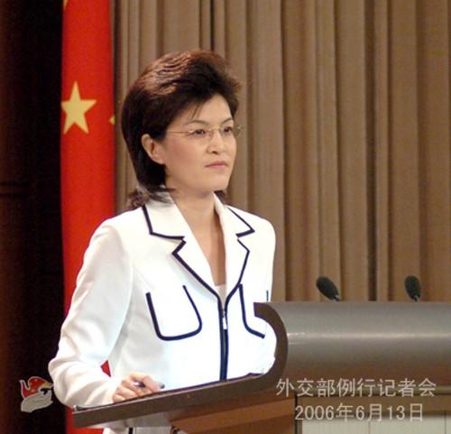 外交部新任女发言人姜瑜亮相 端庄大方举止得
