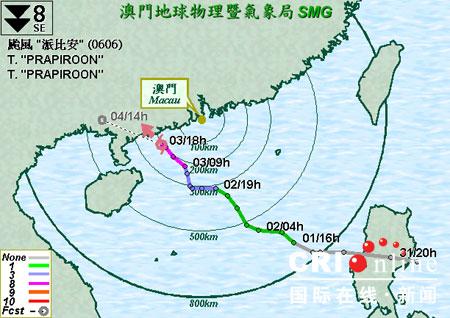 澳门遭遇台风派比安发生158宗事故(组图)