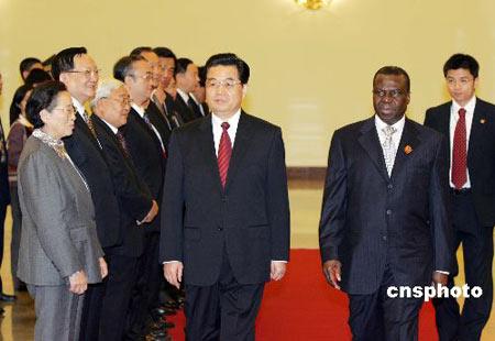 胡锦涛同几内亚比绍总统会谈