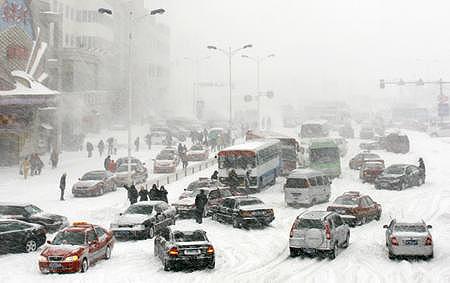 暴风雪突袭东北华北辽宁高速公路基本瘫痪