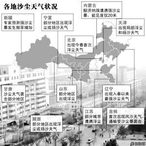 各地沙尘天气情况-江苏连云港出现24小时浮尘 南京下起泥雨