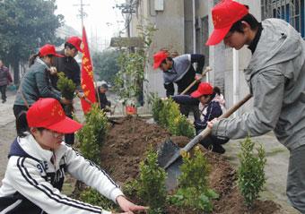 志愿者植树护绿到社区