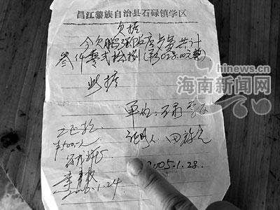 昌江石碌数学校吃饭 打白条 还债 耍太极