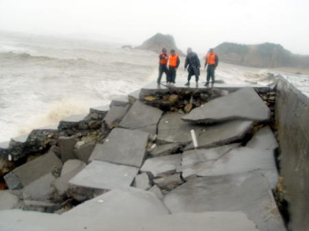 图文:浙江温岭抢修海塘大坝