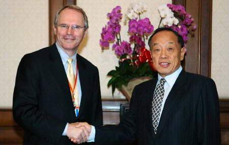 图文:李肇星会见美国代表团团长