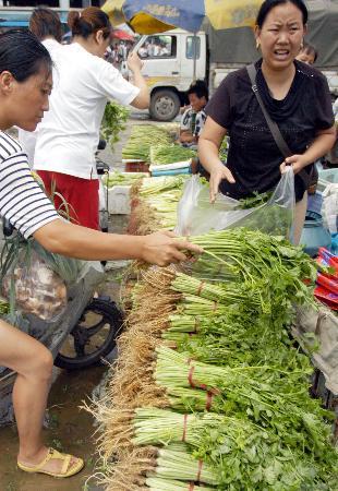 图文:上海曹安蔬菜批发市场内摊主极力吆喝