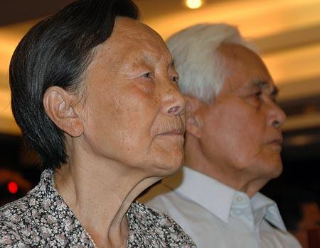 图文:南京大屠杀幸存者夏淑琴在发布会现场