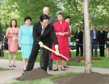 图文:胡锦涛在加拿大总督府种植中加友好纪念树